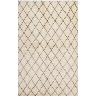 Safavieh Hand-knotted Loft Cream/ Brown New Zealand Wool Rug (9' x 12')