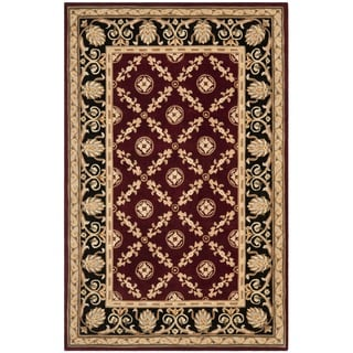 Safavieh Handmade Naples Burgundy/ Black Wool Rug (5' x 8')
