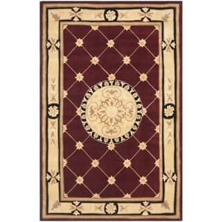 Safavieh Handmade Naples Burgundy/ Ivory Wool Rug (4' x 6')