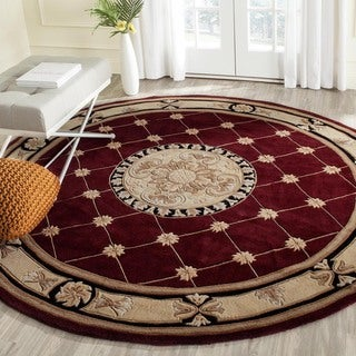 Safavieh Handmade Naples Burgundy/ Ivory Wool Rug (8' Round)