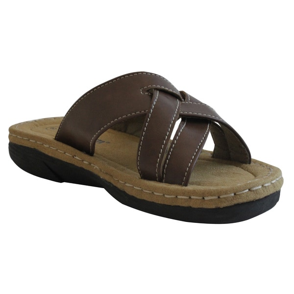 Women's Brown Band Slide Sandals