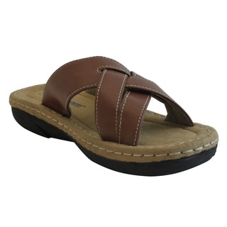 Women's Tan Band Slide Sandals