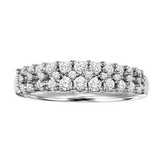 Cambridge Sterling Silver 3/4ct TDW Pave Diamond Anniversary Band