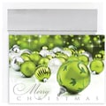 Green Sparkle Ornaments Boxed Holiday Cards