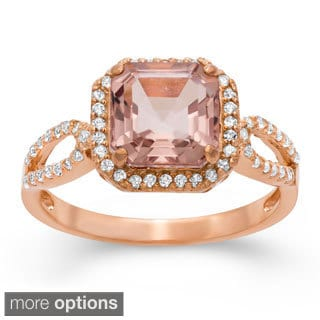 Jenne Rose Gold/ Silver Simulated Morganite and Created Sapphire Ring