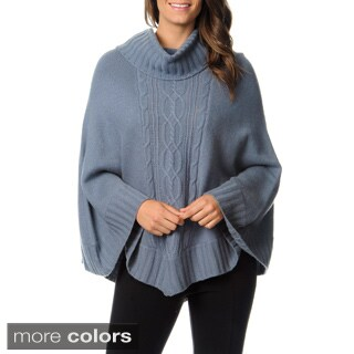 Ply Cashmere Women's Cowl Neck Cable Cape