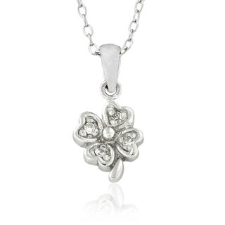 Molly and Emma Sterling Silver Children's Cubic Zirconia Flower Necklace
