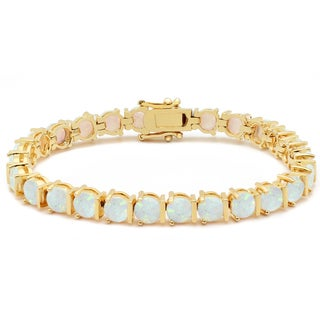 Dolce Giavonna 14k Gold Overlay Simulated Opal Bracelet