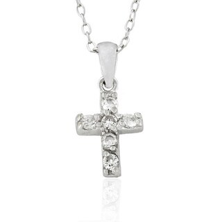 Molly and Emma Sterling Silver Cubic Zirconia Cross Pendant