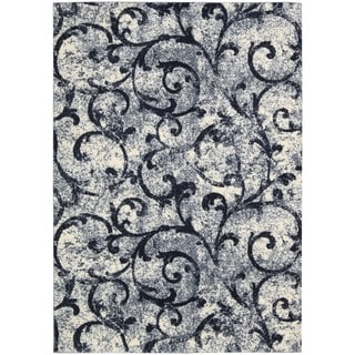 kathy ireland Home Santa Barbara White Navy Rug (5'3 x 7'5)