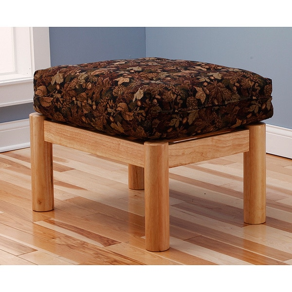 Somette Aspen Ottoman Lodge Natural Frame with Leaf Cushion