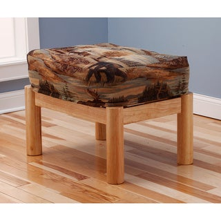 Somette Aspen Ottoman Lodge Natural Frame with Cushion
