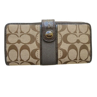 Coach Signature Khaki Logo Jacquard Tab Button Wallet