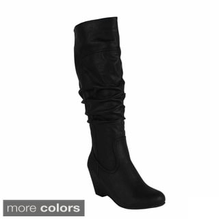 Blossom 'Della-15' Women's Knee High Wedge Heel Fashion Boots