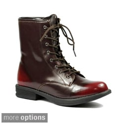 Qupid 'SEATTLE-06' Women's Round Toe Military Lace Up Boots