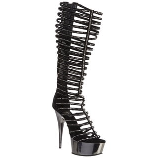 Pleaser 'Delight-600-44' Women's 6-inch Heel Knee High Strappy Sandals