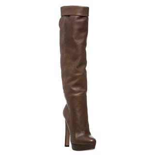 Prada Women's Taupe Leather Over-the-knee Platform Boots