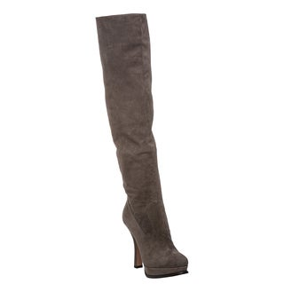 Prada Women's Grey Suede Over-the-Knee Platform Boots