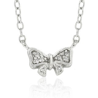 Molly and Emma Sterling Silver Children's Cubic Zirconia Bow Necklace