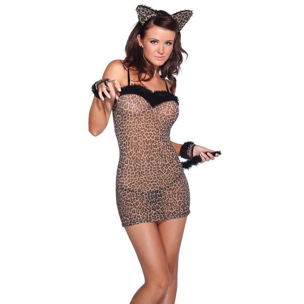 Kissable Women's Sheer 3-piece Cat Dress Set