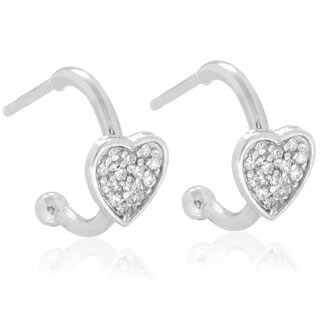 Molly and Emma Sterling Silver Children's CZ Heart Dangle Earrings