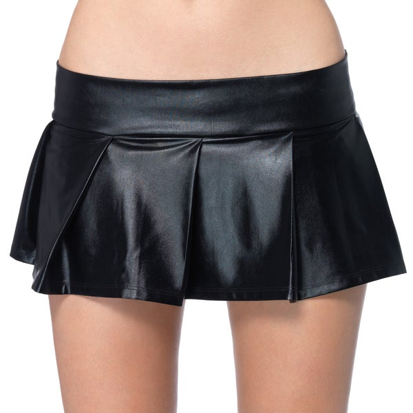 Leg Avenue Women's Black Wet Look Pleated Lame Skirt