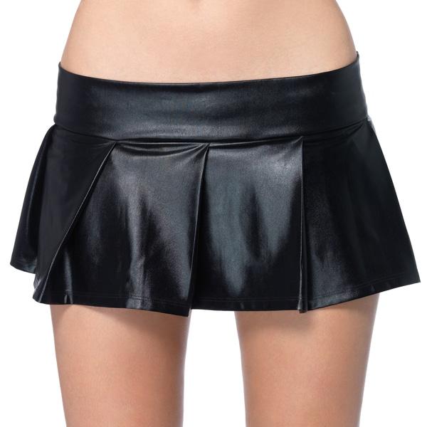 Leg Avenue Women's Black Wet Look Pleated Lame Skirt
