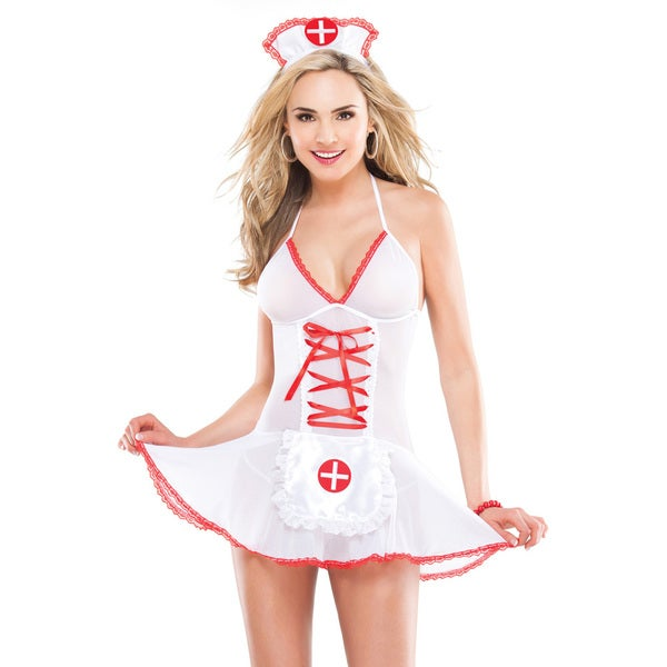 Kissable Women's Sheer Nurse Chemise 2-piece Set