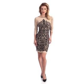 London Times Women's 3/4-sleeve Printed Sheath Dress