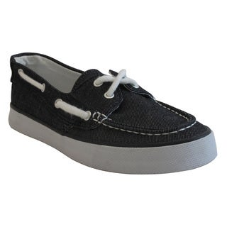 Women's Black Moc Toe Canvas Comfort Shoes