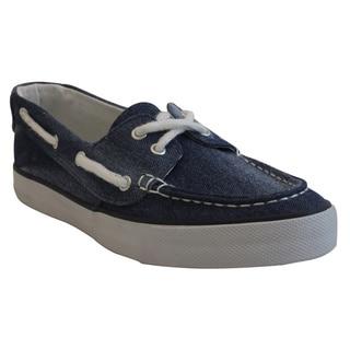 Women's Blue Moc Toe Canvas Comfort Shoes