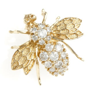 Neda Behnam Galleria 14k Gold 3/5ct TDW Diamond Bumble Bee Brooch (H-I, SI1-SI2)