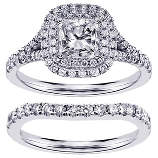 14k or 18k White Gold or Platinum 2 1/3ct TDW Clarity Enhanced Diamond Halo Bridal Ring Set (F-G, SI1-SI2)