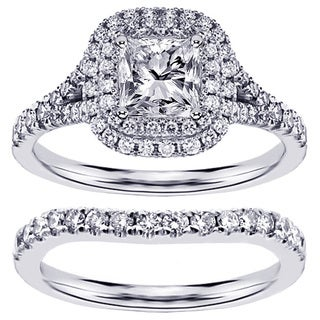 14k White Gold 2 1/3ct TDW Clarity Enhanced Diamond Halo Bridal Ring Set (F-G, SI1-SI2)
