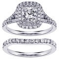 14k White Gold 2 1/3ct TDW Diamond Halo Bridal Ring Set (F-G, SI1-SI2)