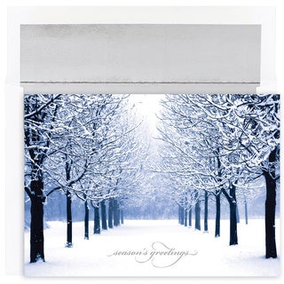 Snow-covered Tree Line Boxed Holiday Cards (Set of 16)