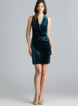 Aidan Mattox Sleeveless Draped Front Velvet Dress