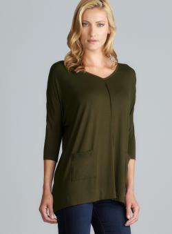 August Silk Two Pocket V-Neck Oversized Top