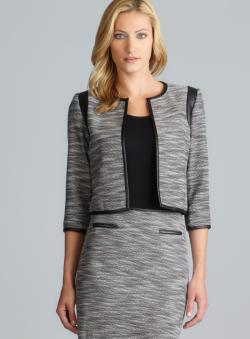 Calvin Klein Faux Leather Detail Open Tweed Jacket