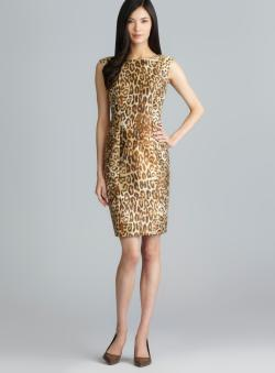 Carmen Marc Valvo Back V Leopard Printed Jacquard Dress