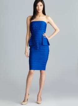 Carmen Marc Valvo Sapphire Strapless Tiered Peplum Dress