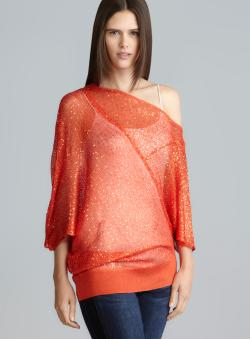 Vertigo Open Knit Sequined Asymmetrical Hem Top