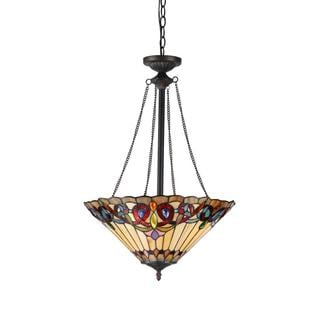 Tiffany Style Victorian Design 2-light Inverted Pendant