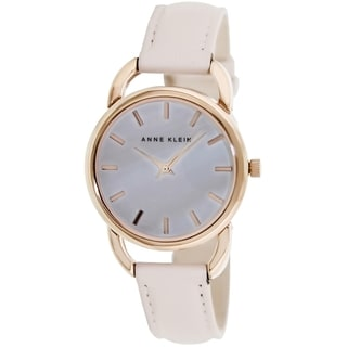 Anne Klein Women's AK-1206RGLP Beige Leather Strap Watch