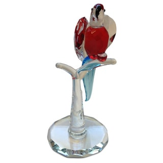 Crystal Red Parrot Figurine with Blue Tail
