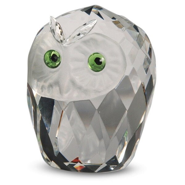 Crystal Florida Crystal Owl Head Sculpture