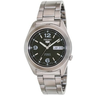 Seiko Men's 5 Automatic Silver Stainless Steel and Green Dial Watch