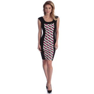 London Times Women's Magenta/ Black Printed Sheath Dress