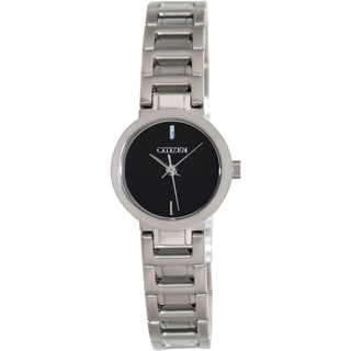 Citizen Women's Classic Silver Stainless Steel and Black Dial Quartz Watch