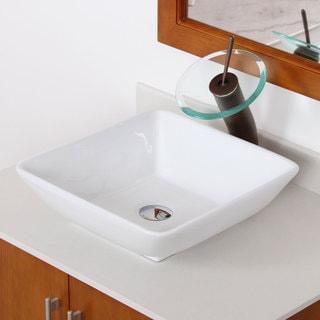 ELITE High Temperature Ceramic Square Design Bathroom Sink and Oil Rubbed Bronze Faucet Combo